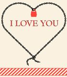 Vector icon love 18.02.13. Vector valentine card.  chain and pudlock. i love you Stock Photography