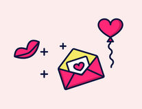Vector icon love Letter with heart and kiss. Vector icon love Letter with heart and kiss Stock Images