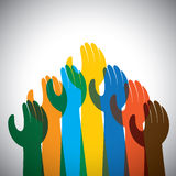 Vector icon of many hands in the air - concept of unity, support. This also represents protest, revolt, demonstration, rally, reaching Stock Photo