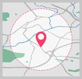 Vector icon. Map of the city. Point on the map.  Stock Photography