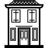 Vector Icon of a modern italian house near water in line art style. Pixel perfect. Travel and tourism, Stock Photography