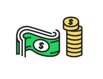 Vector icon of money. Coins and Dollar flat design illustration. Vector icon of money. Coins and Dollar flat design illustration Royalty Free Stock Image