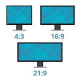 Vector icon monitor sizes. 4:3 16:9 21:9. TV screen lcd monitor template electronic device technology.  on white background Stock Photo