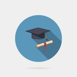 Vector icon of mortarboard or graduation cap and Stock Photo