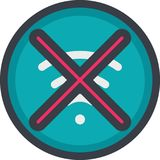 Vector Icon of a no connection in flat with outline style. Pixel perfect. Player and multimedia icon. Stock Photos