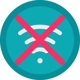 Vector Icon of a no connection in flat style with outline. Pixel perfect. Player and multimedia icon. Stock Image