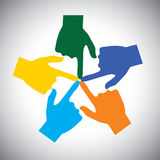 Vector Icon Of Many Hands Touching Each Other - Concept Of Unity Royalty Free Stock Image