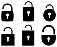 Vector  icon opened padlock set Royalty Free Stock Photo
