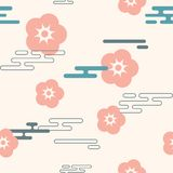Vector icon in oriental flat style. Japanese, chinese flowers and clouds elements. Vector illustration vector illustration