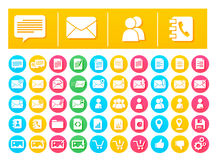 Vector Icon Pack Messaging and Communication Flat in Colorful Circles Stock Photo