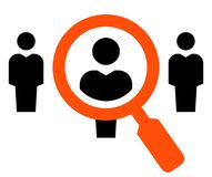 Hiring vector icon. Vector icon of people under magnifying glass Stock Photo