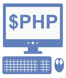 Vector icon of personal computer with dollar php inscription on Royalty Free Stock Photography