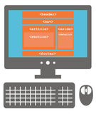 Vector icon of personal computer with html5 layout on the screen Royalty Free Stock Image