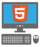 Vector icon of personal computer with html5 sign on the screen, Royalty Free Stock Images