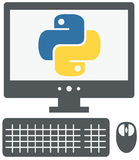 vector icon of personal computer with python sign on the screen, isolated grey simple flat illustration on white background