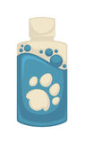 Vector icon of pet shampoo. Symbol animal care. Vector icon of pet shampoo. Symbol of animal care, tool and supply for dog grooming. Cartoon illustration stock illustration