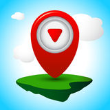 Vector Icon Pin. Pointer to the location and address of the terrain Stock Photo