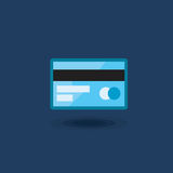 Vector icon plastic bank card isolated. Illustration plastic credit card blue. Vector icon plastic bank card izolated Illustration of a plastic credit card blue Royalty Free Stock Photos