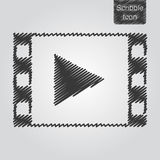 Vector icon of play button in film frame in scribble style. Media player icon. Flat design style. EPS 10 Stock Photo