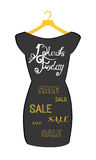 Vector icon poster little black dress - Black Friday. Black Friday lettering on the fashionable black dress Stock Images