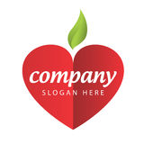 Index fruit company. Vector icon red apple heart Royalty Free Stock Photos