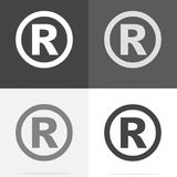 Vector icon Registered Sign.  Set of registered sign icon on whi. Te-grey-black color Stock Photos