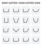 Roof gutter icon. Vector icon of roof gutter shape profile view for drainage system Stock Photography