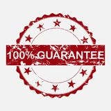 Vector icon round stamp. Aged grunge inscription 100% guarantee. On gray background. Layers grouped for easy editing illustration. For your design royalty free illustration