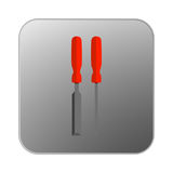 Vector icon screwdriver with orange handle. Illustration Royalty Free Stock Photos