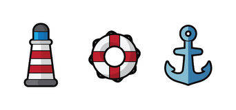Vector icon sea lighthouse, lifebuoy and anchor on white background Stock Images