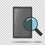 Vector icon search for information in a mobile phone. Phone sear. Ch icon. Magnifying glass and smartphone Stock Images