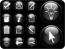 Vector icon series. Business icon vectors in black Royalty Free Stock Image