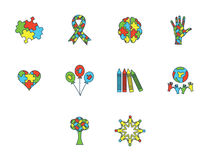 Vector icon set for awareness Stock Images