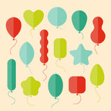 Vector icon set of balloons of different shapes in flat style Stock Photography