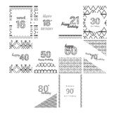 Vector icon set for birthday cards. With age on white background royalty free illustration