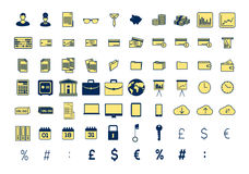 Vector icon set for business and finance Stock Photos