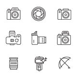 Vector icon set for camerist. Elements for photographer logos. Modern line art style. Black and white Royalty Free Stock Photography