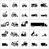 Vector icon set cars and tractors Royalty Free Stock Images
