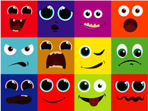 Vector icon set - cartoon face, happy, scared, screaming, happy, smile, grin, laughing Stock Photography