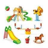 Vector icon set of children playground. Royalty Free Stock Photo