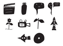 Vector icon set for cinema. On white background Royalty Free Stock Photography