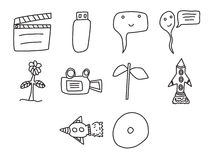 Vector icon set for cinema. On white background Stock Photos