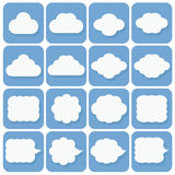Vector icon set, collection of cloud icons, white on blue backgr Royalty Free Stock Photography