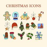 Vector icon set with color doodle symbols of Christmas icons. Stock Photos
