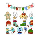 Vector icon set with color doodle symbols of Christmas icons. Royalty Free Stock Photo