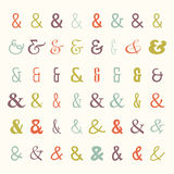 Vector icon set of colored ampersands Stock Image