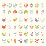 Vector icon set of colored mail dogs Royalty Free Stock Photography