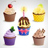 Cupcake icons. Vector icon set - colorful cupcakes. EPS10 Royalty Free Stock Photography