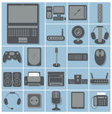 Vector icon set of computer gadgets and devices 22 squares colle Stock Photos