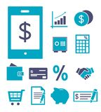 Vector icon set for creating infographics about finances, banking, shopping and saving, including mobile payment, credit card, dea